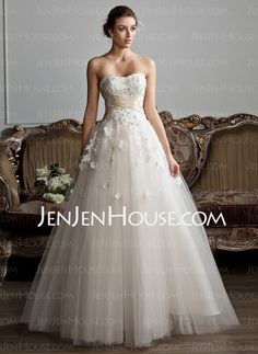Wedding Dresses - $164.99 - A-Line/Princess Sweetheart Floor-Length Satin Tulle Wedding Dresses With Ruffle Sashes Beadwork (002013803) http://jenjenhouse.com/A-line-Princess-Sweetheart-Floor-length-Satin-Tulle-Wedding-Dresses-With-Ruffle-Sashes-Beadwork-002013803-g13803