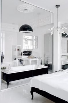 #bedroom #bathroom #black #white