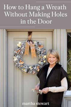 To avoid leaving holes in your front door, consider these expert-recommended DIY solutions. See this holiday decorating tip along with other DIY decorating ideas. #marthastewart #christmas #diychristmas #diy #diycrafts #crafts