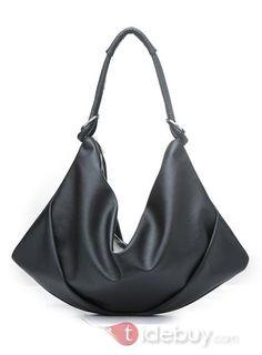 安いファッション女性黒のPUショルダーバッグ