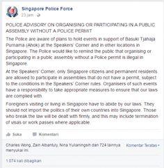 Soal Aksi Publik untuk Ahok Kepolisian Singapura: Tindakan Ilegal