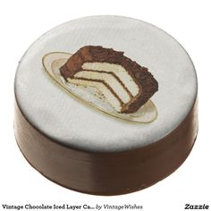 Vintage Chocolate Iced Layer Cake Chocolate Dipped Oreo - #vintagewishes #windywinters #zazzle