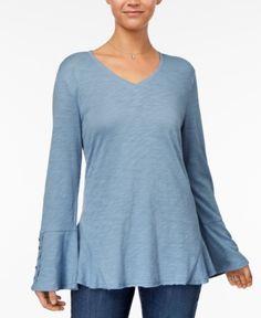 Style & Co Crochet-Trim Flounce Top, Created for Macy's - Blue XXL