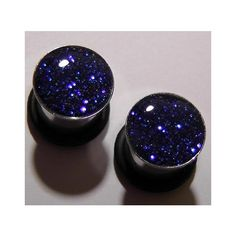 Electric Blue Sparkle plugs gauges embedded resin filled - Made to... ($15) ❤ liked on Polyvore