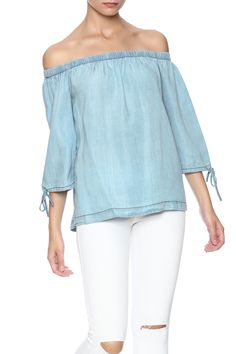 Denim chambray off shoulder top with tie sleeve detail.   Chambray Off Shoulder Top by Sans Souci. Clothing - Tops - Blouses & Shirts Clothing - Tops - Casual Clothing - Tops - Long Sleeve Naples, Florida Manhattan, New York City
