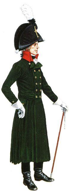 Униформа офицера пешего егерского полка, 1806 год