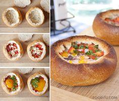 Breakfast bread bowls http://www.handimania.com/cooking/breakfast-bread-bowls.html
