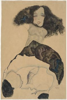 NOT ON VIEW Schiele, unable to afford professional models, often depicted very young, working-class girls or prostitutes in unashamedly sexual poses. The awkwardly contorted body language that he favored conveys an uncomfortably suppressed emotion. In drawing, unlike painting, Schiele typically treated his subjects in a sexually explicit way.