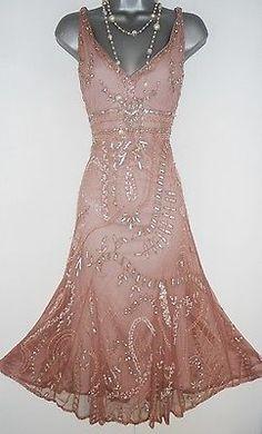 Principles Pink Embellished Deco Gatsby Flapper Charleston Evening Dress Size 14