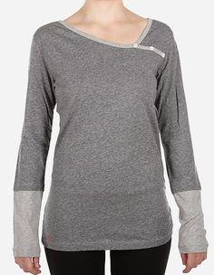 iriedaily - Asym Stripe Button LS grey mel