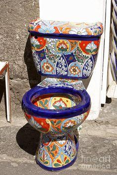Colorful Mexican Toilet Puebla Mexico Photograph - Colorful Mexican Toilet Puebla Mexico Fine Art Print