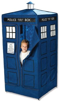 "TARDIS ""kid's"" tent. No. I would spend all my time in there. Wonder if its bigger on the inside..."