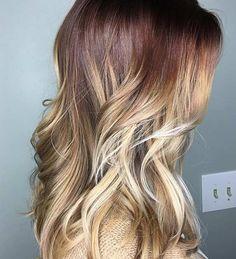 Auburn Hair with Blonde Balayage Lowlights