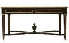 1870 French Napoleon III Ebonized Writing Table w Bronze Trim Antiques on old plank road
