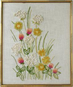Vintage Framed Crewel Embroidered Fiber Art