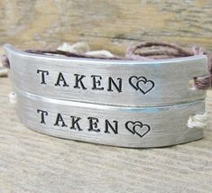 TAKEN Set of 2 Couples Friendship Bracelet Custom Hand Stamped Name Tie On Hemp Cord His and Hers on Etsy, $22.00