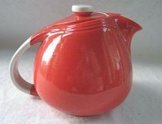 1940's Halls China Teapot Red White 6 cup Sani Grid by VivaVera,