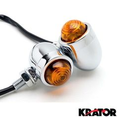 Krator® Motorcycle 2 pcs Chrome Amber Turn Signals Lights For Suzuki Shuttle FA50, Chrome with Amber Lens