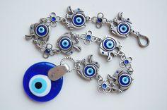 7 Elephant with Evil Eye Beads Amulet Handmade by TheGrandBazaar, $25.00