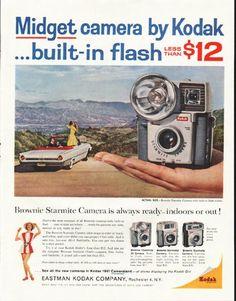 "1961 KODAK CAMERA vintage magazine advertisement ""Midget camera"" ~ Midget camera by Kodak ... built-in flash less than $12. Brownie Starmite Camera. Brownie Flashmite 20 Camera. Brownie Starmeter Camera. Brownie Starmatic Camera. ~"
