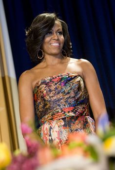 For that year's Correspondents' Dinner, Michelle donned a bold print with another Naeem Khan-designed gown.