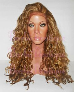 READY TO SHIP * Beyonce Long Wavy Honey Blonde w/ Platinum Highlights Wig Strawberry Blonde * Lace Edge Wig * 100% Heat Safe * Ginger Wig