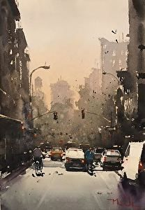 Almost Winter, Rivington St by Daniel Marshall Watercolor ~ 11 x 15 Watercolor City, Watercolor Mixing, Watercolor Sketch, Watercolor Artists, Watercolor Landscape, Artist Painting, Watercolor Paintings, Watercolours, Watercolor Architecture