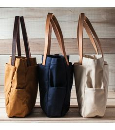 Canvas & Leather Utility Tote - Mustard, Navy, Natural