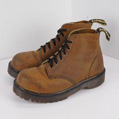 Vintage Dr Marten Womens Steel Toe Size US 7 UK 5 Ankle Boots Brown Leather Docs #DrMartens #AnkleBoots