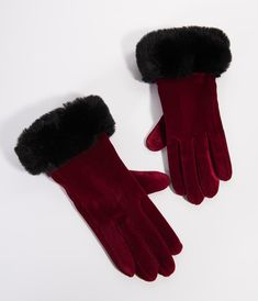 0056cf5cb21 Burgundy Velvet   Black Fur Lace Up Valentina Wrist Gloves