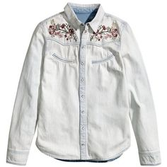 Vintage Embroidered Light Wash Denim Shirt (115 BRL) ❤ liked on Polyvore featuring tops, shirts & tops, denim shirt, vintage tops, embroidered top and embroidered shirts
