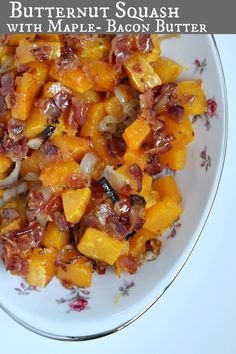 Roasted Butternut Squash with Maple- Bacon Butter #recipe