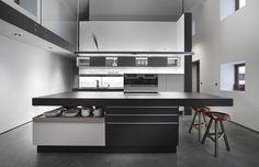 Wonderful 15 White Modern Kitchen Design Ideas to Inspire You Modern Kitchen Cabinets, Kitchen Flooring, Kitchen Interior, Purple Kitchen Designs, Modern Kitchen Design, Küchen Design, Layout Design, House Design, Interior Design