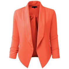 LE3NO Womens Textured 3/4 Sleeve Open Blazer Jacket ($21) ❤ liked on Polyvore featuring outerwear, jackets, blazers, textured jacket, red blazer, 3/4 sleeve blazer, blazer jacket and three quarter sleeve blazer