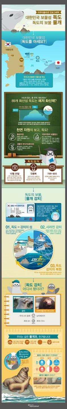독도와 독도의 보물 물개에 관한 인포그래픽