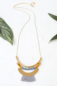 Arenal Necklace by Shlomit Ofir, Tropical inspired necklace with beads, suede and sequins