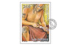 COLLECTORZPEDIA: French Polynesia Stamps Traditional professions - Sculptor