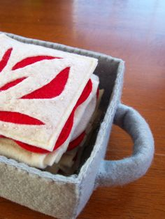 Felt Food Lasagna Eco Friendly Pretend Play Food for Childrens Toy Kitchen - INTERACTIVE - Includes Felt Baking Pan. $30.00, via Etsy.