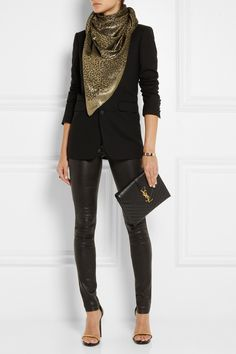 Saint Laurent - Metallic leopard-print woven scarf