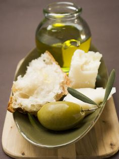 Green Olive, White Bread, Parmesan and Olive Oil