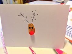 Home made reindeer cards. Use the entire families index fingers or thumbs for a family card!!