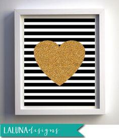 Gold Glitter Heart Print, Valentines Day Print, Black & White Stripes, Instant Download, DIY Printable