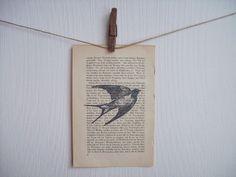 Vogel Buchseite  von vintagefactory auf DaWanda.com Letterpress, Office Supplies, Notebook, Etsy, Book Pages, Bird, Printing, Letterpress Printing, Exercise Book