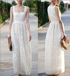 White Dress Long dress For Women Sleeveless Summer Spring Autumn on Etsy, $115.00