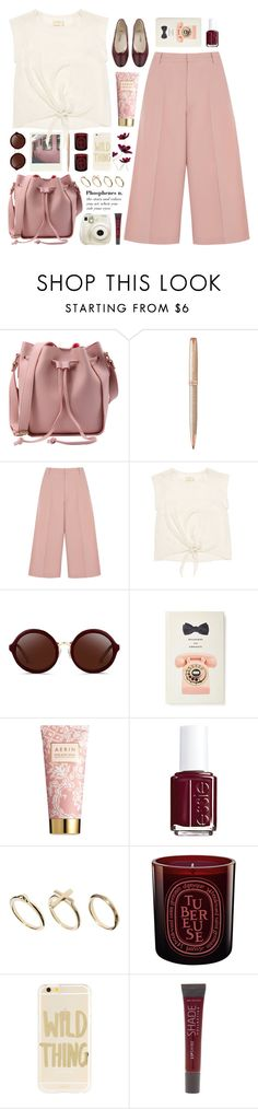 """""""pink culottes"""" by jesuisunlapin ❤ liked on Polyvore featuring Polaroid, Parker, RED Valentino, Nicole Miller, 3.1 Phillip Lim, Kate Spade, Fujifilm, AERIN, Essie and DesignSix"""