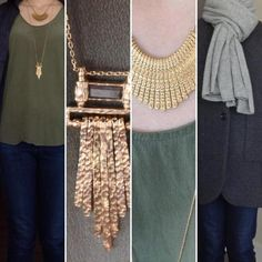 All about the hieroglyphs today, taking inspiration from the necklaces (pure gold). I was inspired by reading about Egypt and archeology last night, and I paired these two necklaces  I picked up for a song at a major sale from a local designer Caroline Neron (similar in Shop Looks for much cheaper). My favourite khaki green silk tank for a steal from Grana (check out my review on my blog SaveSpendSplurge.com )  and my staple jeans finish the look with a classic charcoal grey wool car coat…
