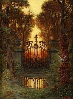 """""""German painter Ferdinand Knab was born The first painting, titled The Castle Gate (Das Schloss Portal), inspired some rather strange writing last year. Fantasy Places, Fantasy World, Fantasy Art, Fantasy Forest, Castle Gate, Fantasy Landscape, Gothic Art, Belle Photo, Faeries"""