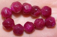 10 New African Ruby Gemstone Beads, 8-9mm, #A8775