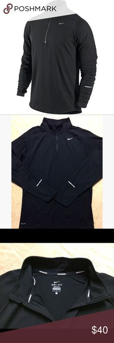 "EUC Nike Element Half Zip Running Top - L The Nike Element Half-Zip Men's Running Top combines sweat-wicking fabric, stretchy spandex and optimal coverage to help keep you comfortable on cooler days. Black running Jacket in excellent condition. No known flaws or defects. No cracking in logos or any print. Length: 29"". Chest: 23"" Nike Jackets & Coats"