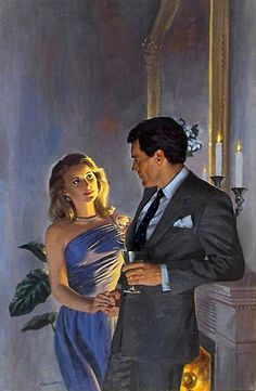 """The end of an evening out and they are holding hands and looking into each other's eyes. The romance is blossoming. The painting appeared on the cover of a paperback titled """"A Lasting Kind Of Love"""" by  Catherine Spencer. Illustration by McCauley Conner."""